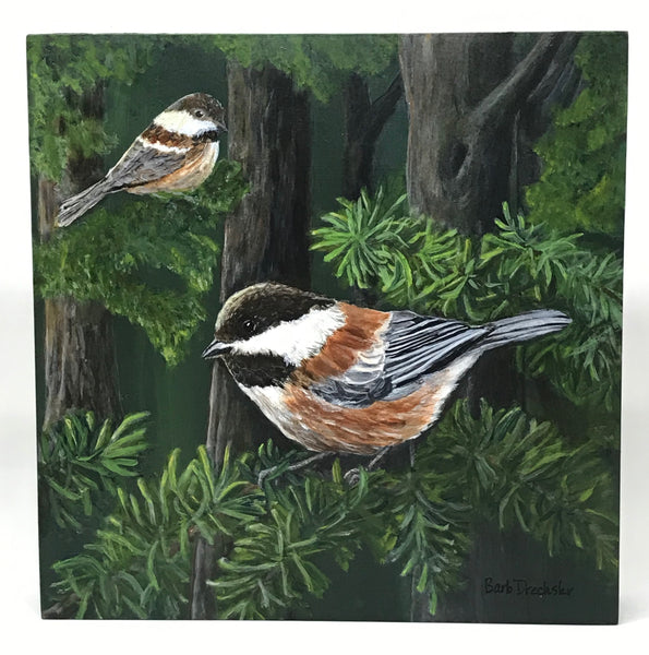 CHICKADEES IN THE FOREST ORIGINAL ACRYLIC PAINTING