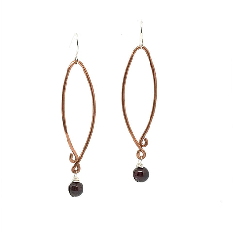 COPPER EARRING -  LONG WITH GARNET