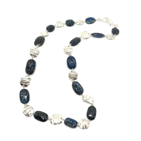 BLUE KYANITE WITH SILVER LINKS AND MATCHING EARRINGS