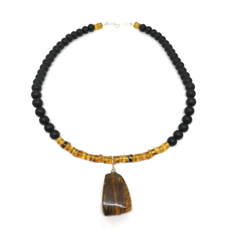 AMBER AND OBSIDIAN NECKLACE