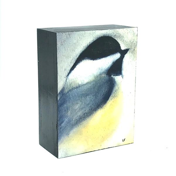 Chickadee Print on Wood