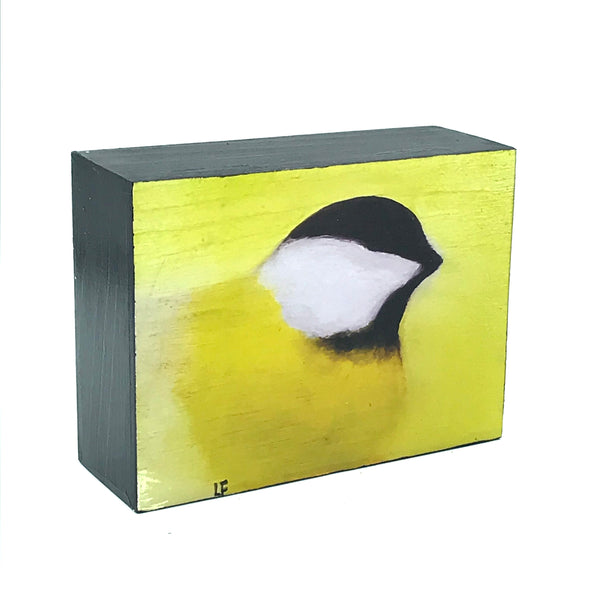 Yellow Chickadee Print on Wood