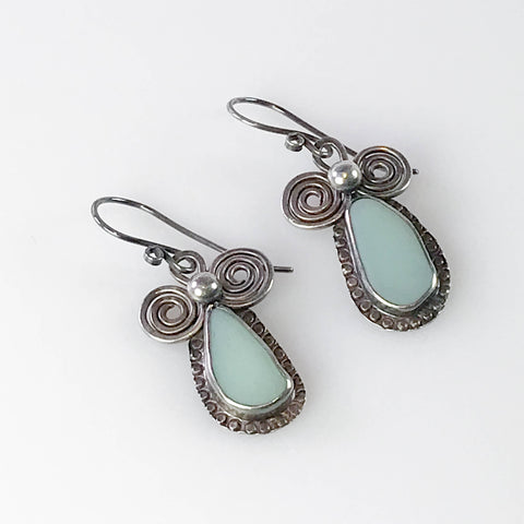 GREEN MILK GLASS EARRINGS