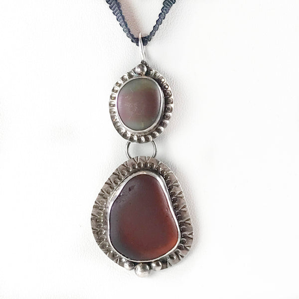 LARGE BROWN GLASS/ NOOTKA ISLAND BEACHSTONE DOUBLE PENDANT NECKLACE/CHOKER