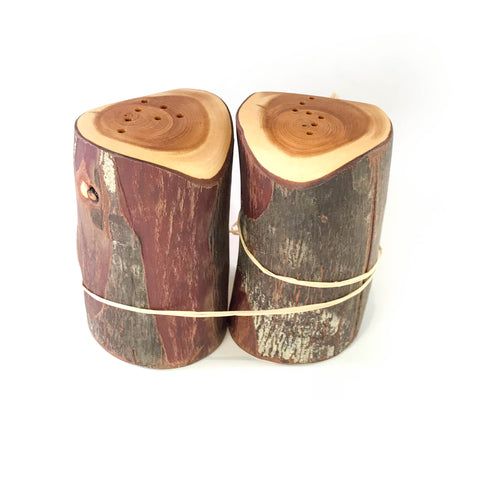 YEW WOOD ROUND SALT AND PEPPER SET