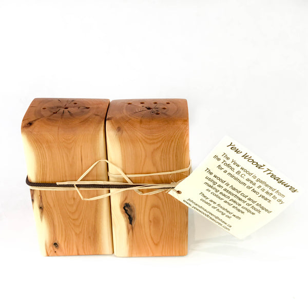 YEW WOOD SQUARE SALT AND PEPPER SET