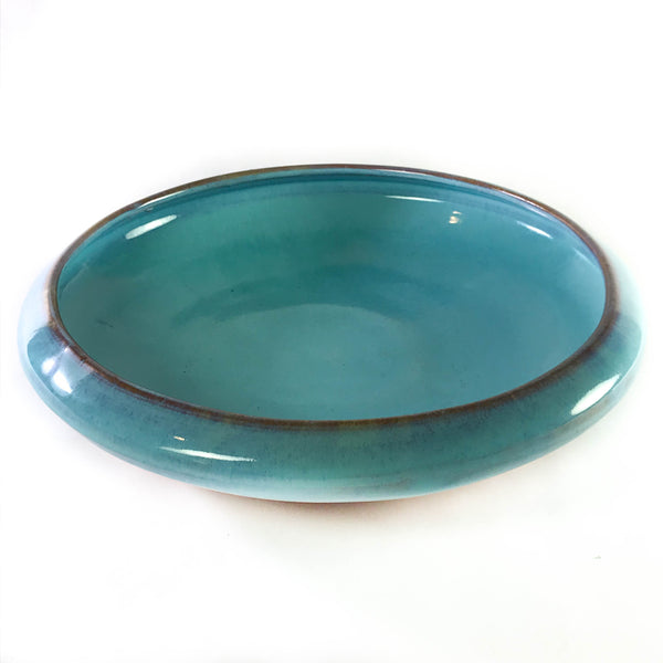 Large Turquoise Plate with Rim