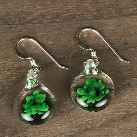 MINI GLASS BALL GLASS EARRINGS - GREEN