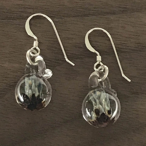 MINI GLASS BALL GLASS EARRINGS - LIGHT BLUE