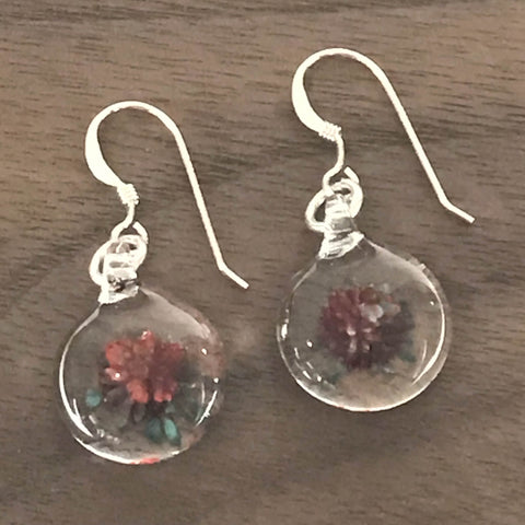MINI GLASS BALL GLASS EARRINGS - RED WITH BLUE