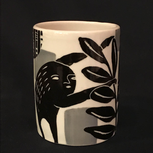 WINE CUP - WHITE WITH BLACK LEAVES AND SLOTH
