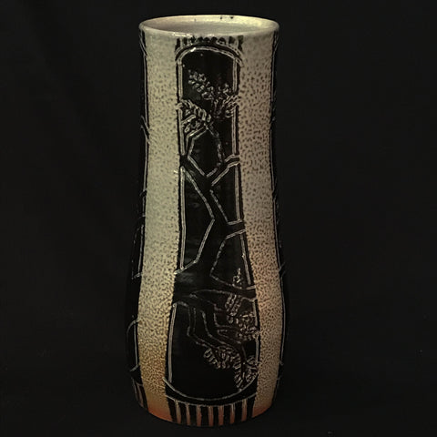 SALT FIRED CARVED VASE