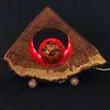 HORSE CHESTNUT WOOD LAMP - TRIANGLE LED LIGHTING WITH GLASS GLOBE