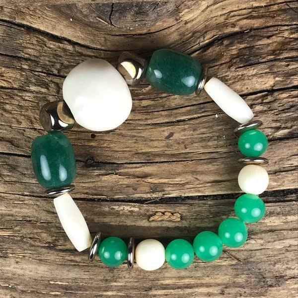 BRACELET - BONE, JADE AND SILVER