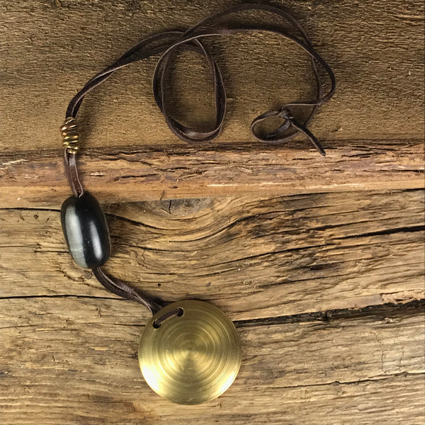 NECKLACE - BRASS DISK, NUTS AND BRASS