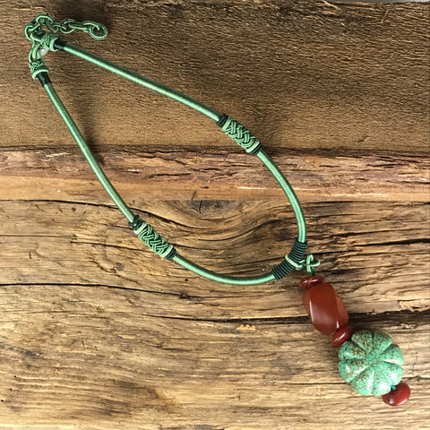NECKLACE - TURQUOISE AND AMBER ON GREEN CORD