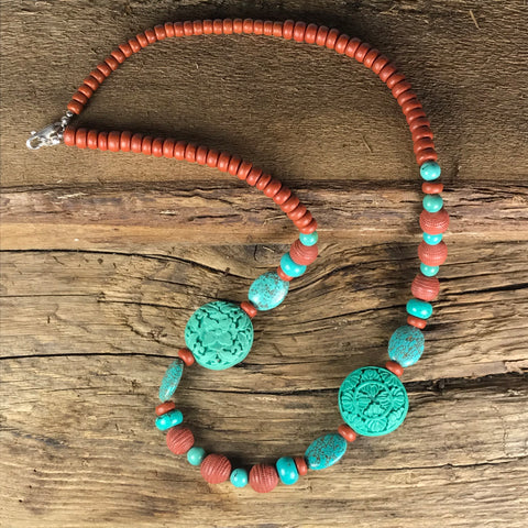 NECKLACE & BRACELET SET - TURQUOISE AND CLAY BEADS