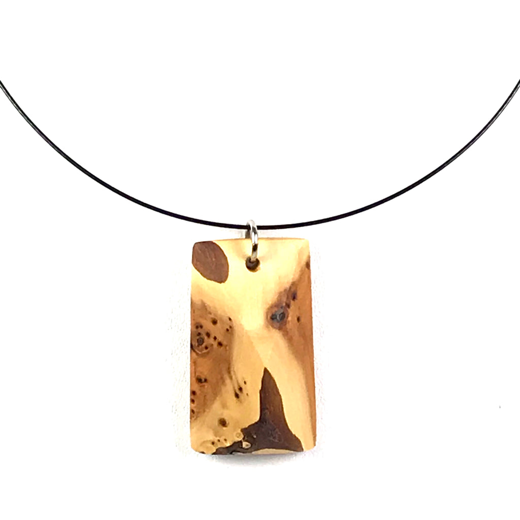 YEW WOOD PENDANT NECKLACE
