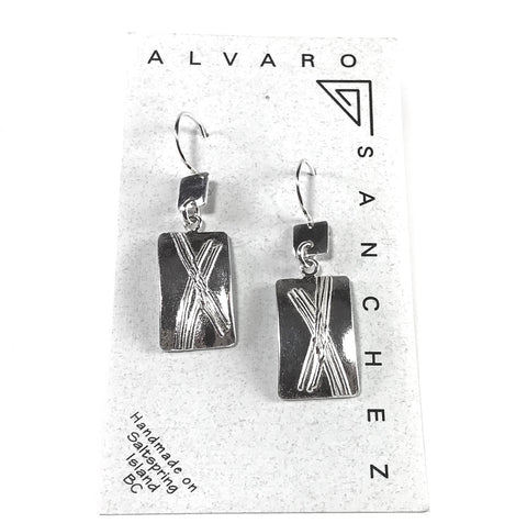 Square Link Sterling Silver Rectangular Drop earrings, 1 3/4 inches