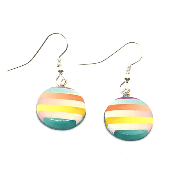 POLYMER CLAY EARRINGS - ROUND - STRIPED, YELLOW, TEAL,ORANGE