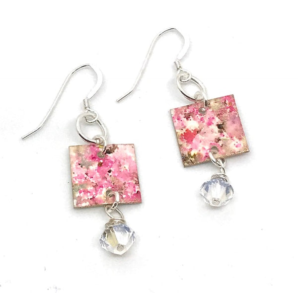 HAND-PAINTED SQUARE EARRING WITH CRYSTAL