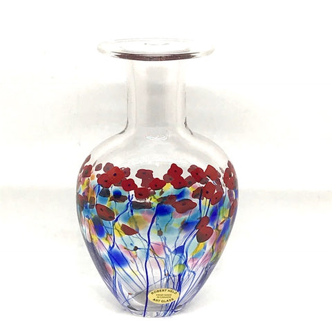CLEAR FLASK POPPY  VASE