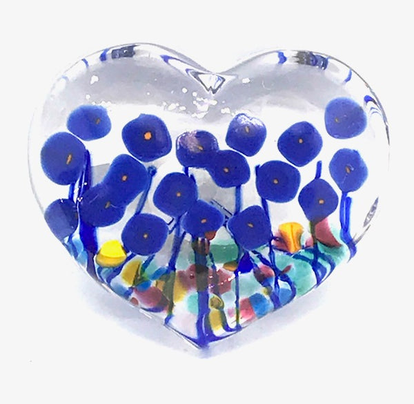 Blue Poppy Large Glass Heart Paperweight