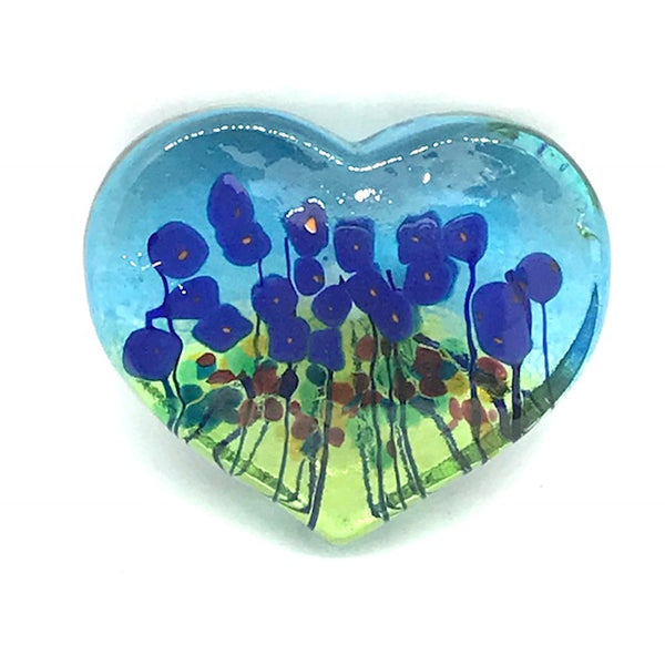 BLUE POPPY LARGE HEART PAPERWEIGHT