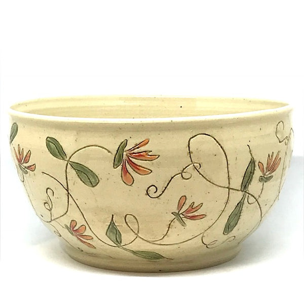 Large Ceramic Bowl with Honeysuckle flowers
