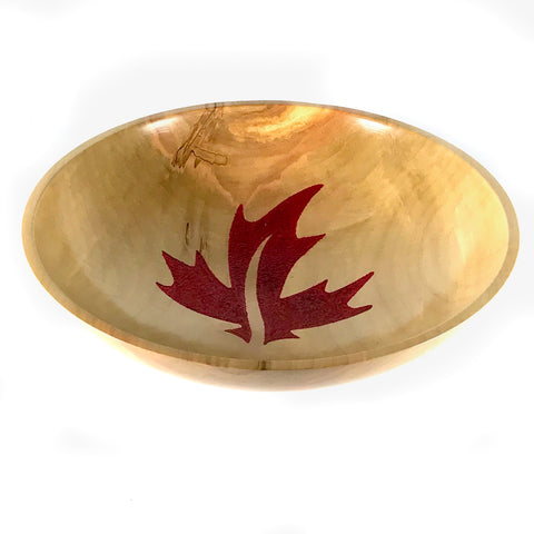 SILVER MAPLE SALAD OR FRUIT BOWL W/ EMBOSSED RED MAPLE LEAF