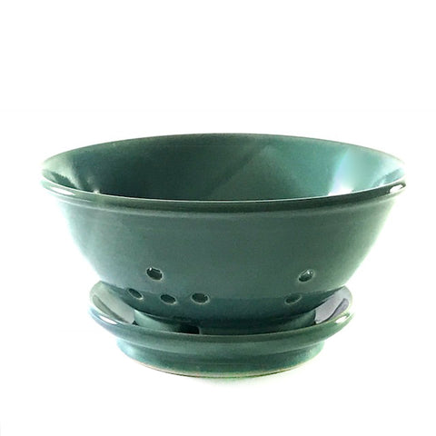 Ceramic berry bowl and saucer in aqua colouring