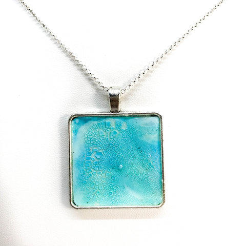 HAND-PAINTED SQUARE SHAPE PENDANT NECKLACE