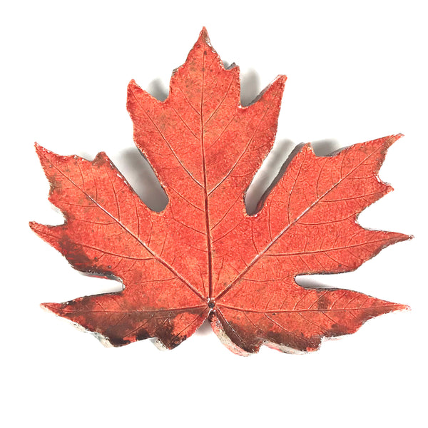 MEDIUM RAKU MAPLE LEAF - ORANGE