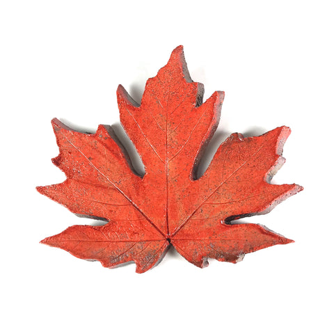SMALL RAKU MAPLE LEAF - ORANGE