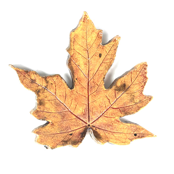 SMALL RAKU MAPLE LEAF - GOLDEN