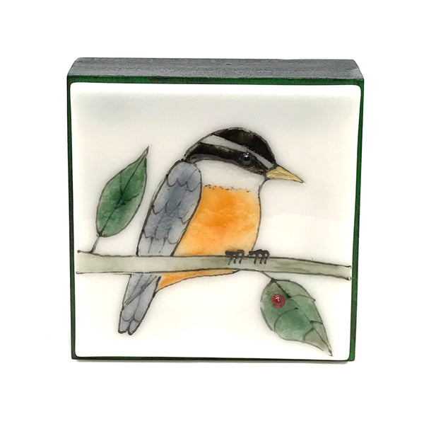 FUSED ART GLASS NUTHATCH