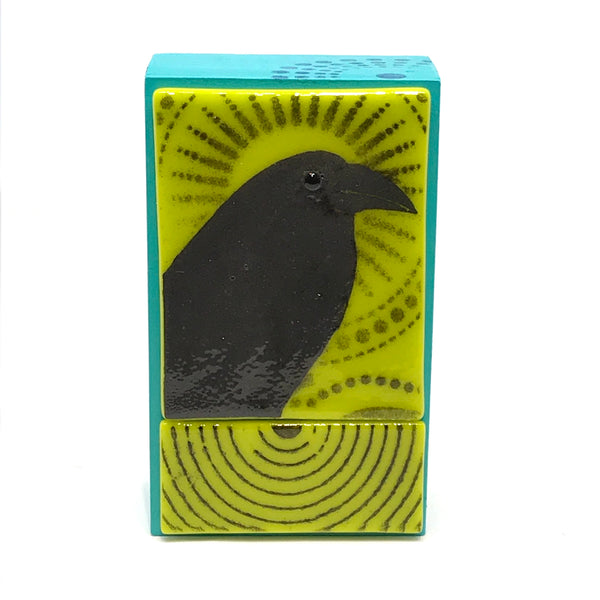 FUSED ART GLASS CROW