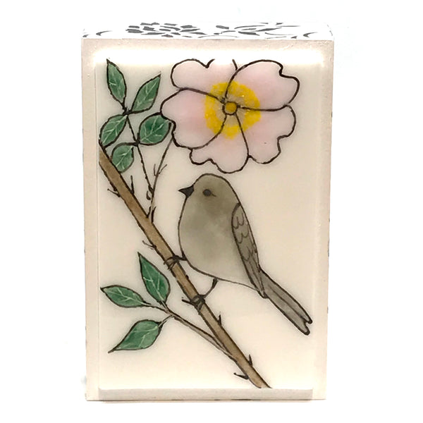 FUSED ART GLASS BUSHTIT AND ROSE