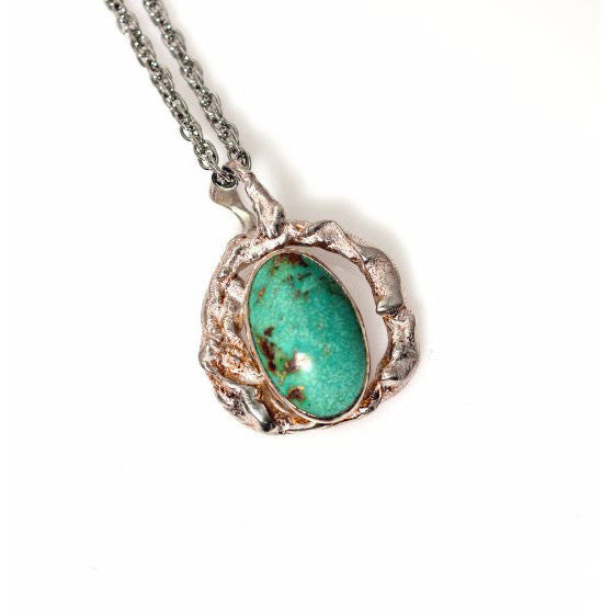 RETICULATED STERLING SILVER AND TURQUOISE PENDANT - Side Street Studio