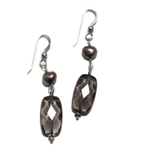 STERLING SILVER DROP EARRINGS, PEARLS, SMOKY QUARTZ BEADS - Side Street Studio