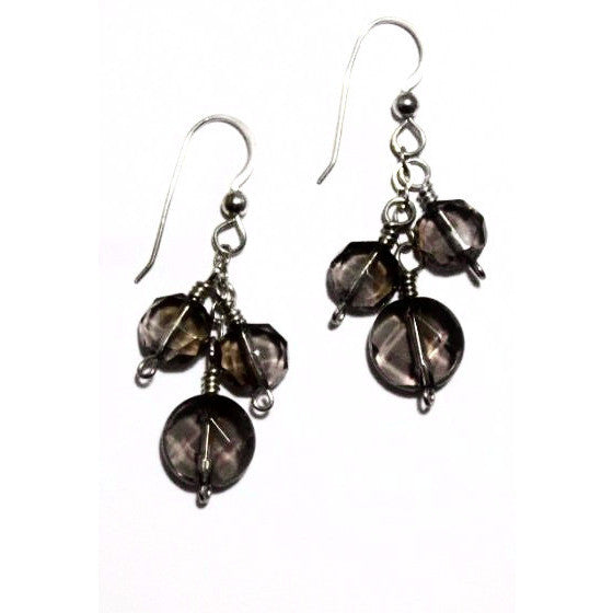 STERLING SILVER DROP EARRINGS, SMOKY QUARTZ BEADS - Side Street Studio
