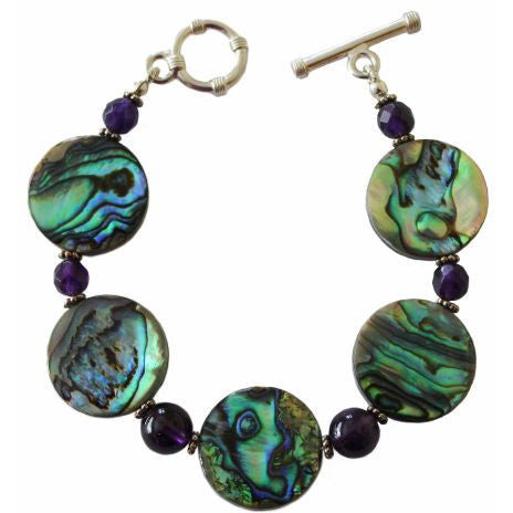 STERLING SILVER ABALONE AND AMETHYST BRACELET - Side Street Studio