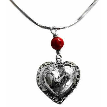 RED CORAL AND STERLING SILVER HEART PENDANT NECKLACE - Side Street Studio