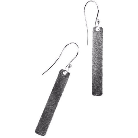 STERLING SILVER HAMMERED LINEAR  EARRINGS - Side Street Studio