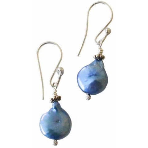STERLING SILVER BLUE PEARL EARRINGS - Side Street Studio