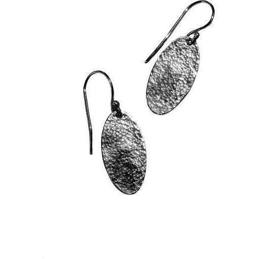 STERLING SILVER OVAL TEXTURED EARRINGS - Side Street Studio