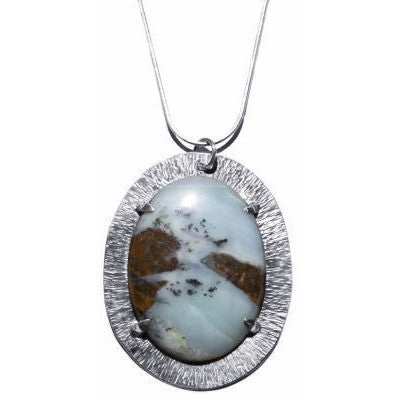 STERLING SILVER AND JASPER PENDANT NECKLACE - Side Street Studio