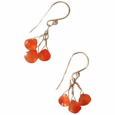 STERLING SILVER AND CARNELIAN EARRINGS