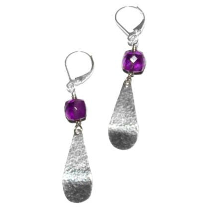 STERLING SILVER AND AMETHYST EARRINGS - Side Street Studio