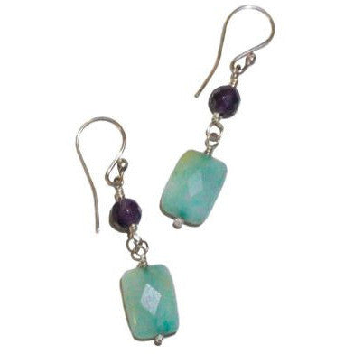 STERLING SILVER AMETHYST AND AMAZONITE EARRINGS - Side Street Studio